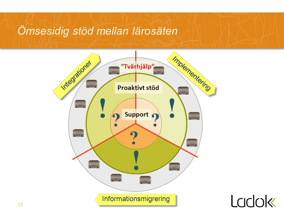 12 Ömsesidig stöd mellan lärosäten Integrationer Informationsmigrering Implementering Support Proaktivt stöd .
