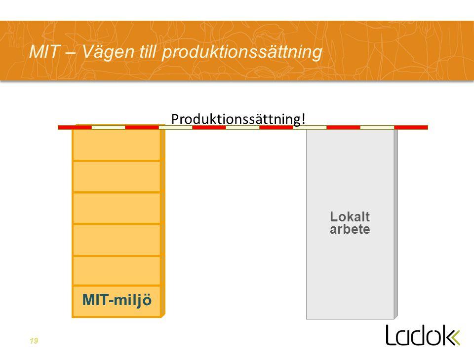 19 Lokalt arbete MIT – Vägen till produktionssättning MIT-miljö Produktionssättning!