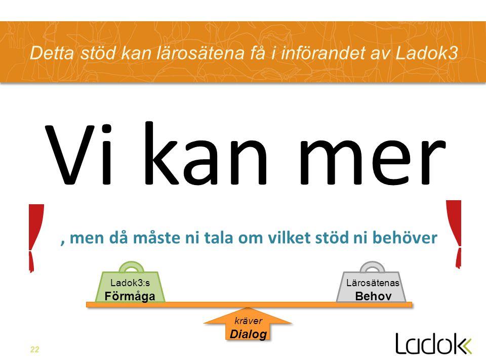 22, men Detta stöd kan lärosätena få i införandet av Ladok3 Inte riktigt ALLT, men då måste ni tala om vilket stöd ni behöver Vi kan mer Lärosätenas Behov Ladok3:s Förmåga kräver Dialog