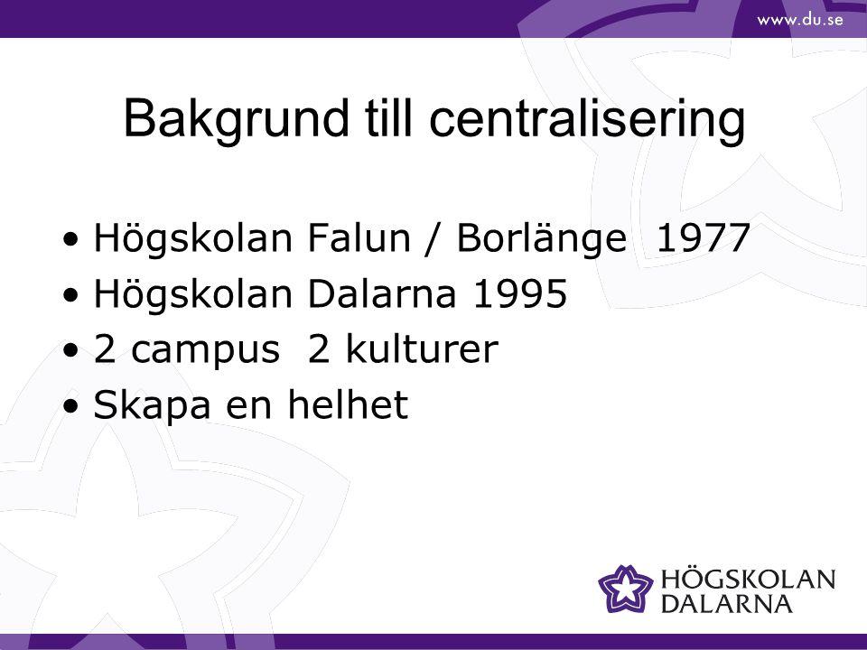 Bild 4 1 campus 500 anställda 3 institutioner Centraliserad förvaltning sedan 2008 7 avdelningar inom förvaltningen BAKGRUND SKÖVDE