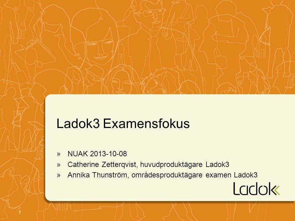 1 Ladok3 Examensfokus »NUAK 2013-10-08 »Catherine Zetterqvist, huvudproduktägare Ladok3 »Annika Thunström, områdesproduktägare examen Ladok3
