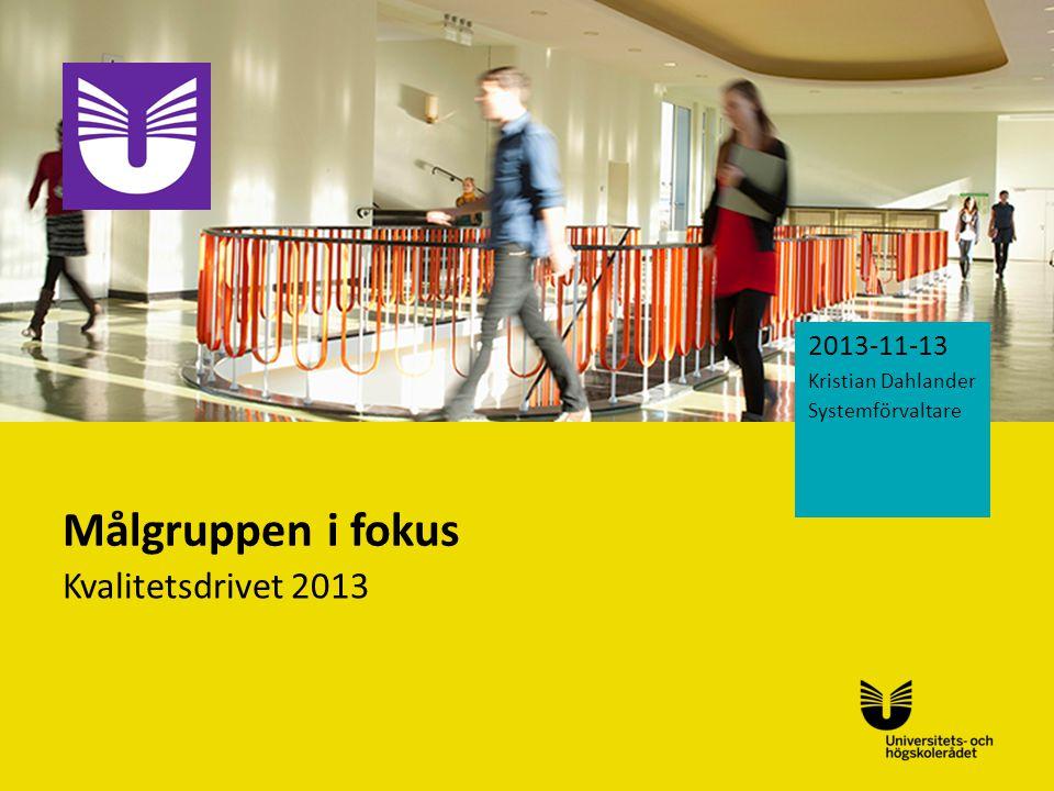 Sv Målgruppen i fokus Kvalitetsdrivet 2013 2013-11-13 Kristian Dahlander Systemförvaltare