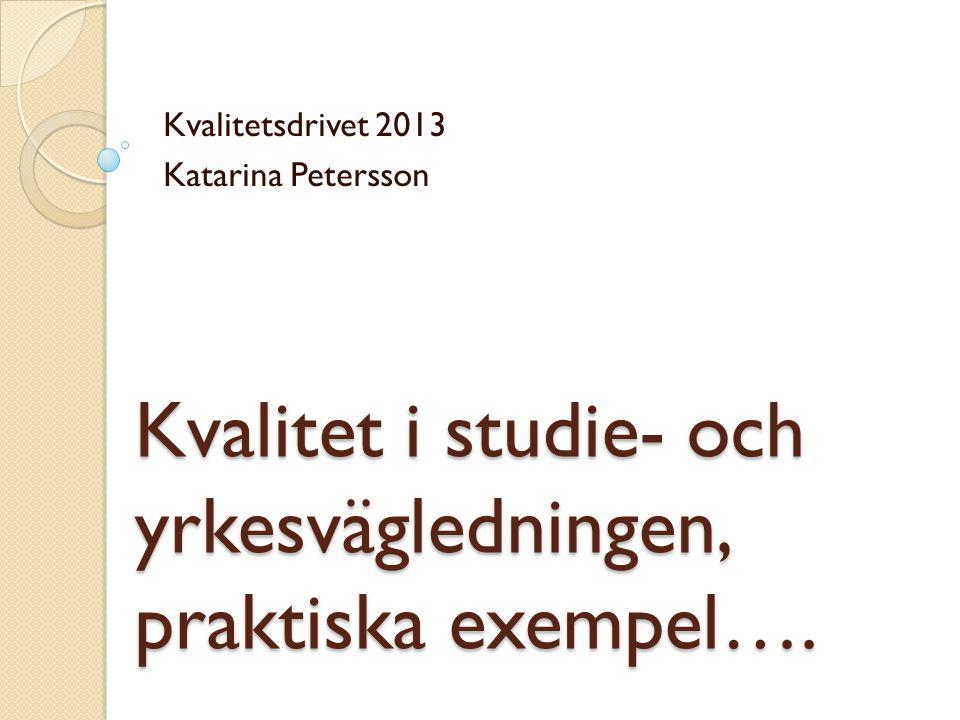 Kvalitet i studie- och yrkesvägledningen, praktiska exempel…. Kvalitetsdrivet 2013 Katarina Petersson
