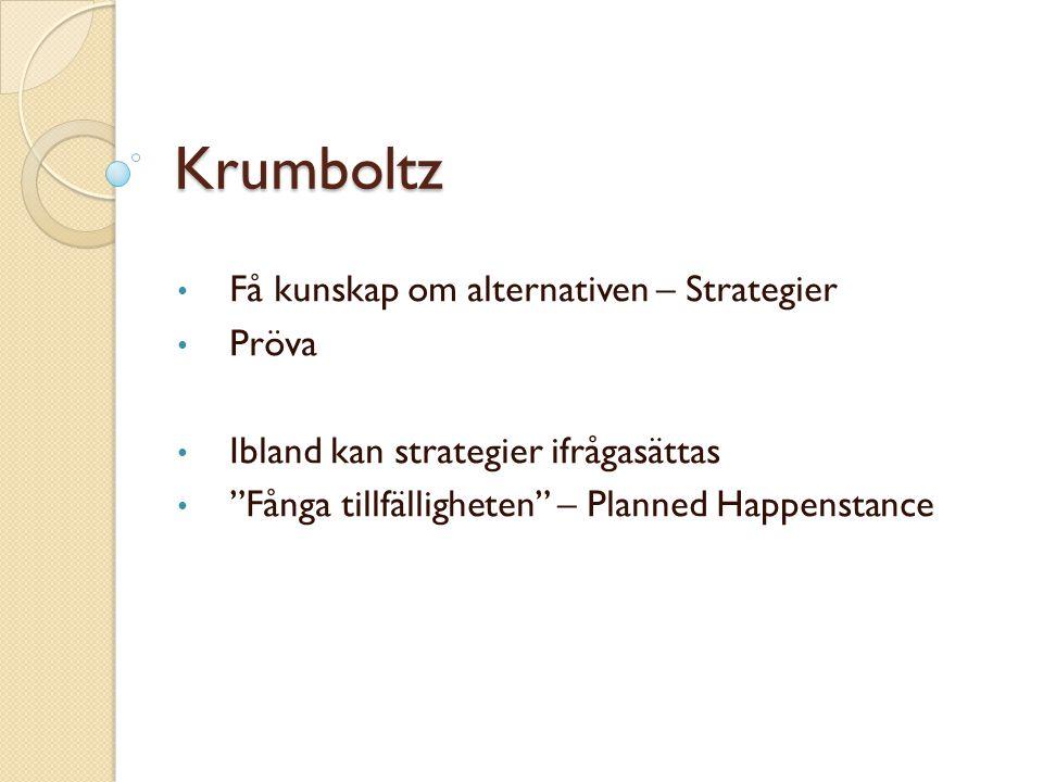 """Krumboltz Få kunskap om alternativen – Strategier Pröva Ibland kan strategier ifrågasättas """"Fånga tillfälligheten"""" – Planned Happenstance"""