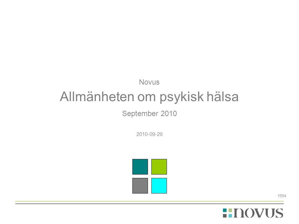 Novus Allmänheten om psykisk hälsa September 2010 2010-09-29 1994