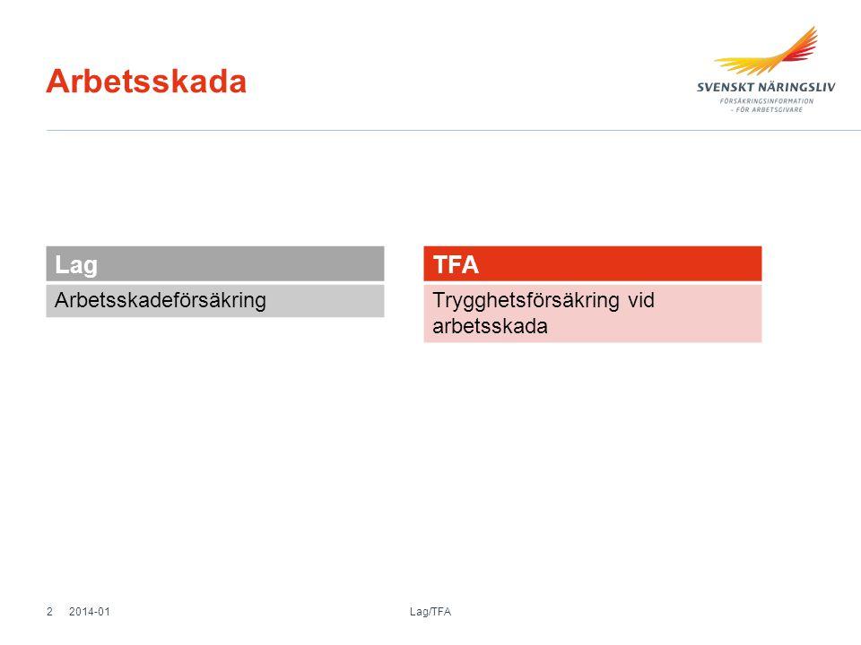Arbetsskada Lag Arbetsskadeförsäkring TFA Trygghetsförsäkring vid arbetsskada 2014-01 Lag/TFA 2