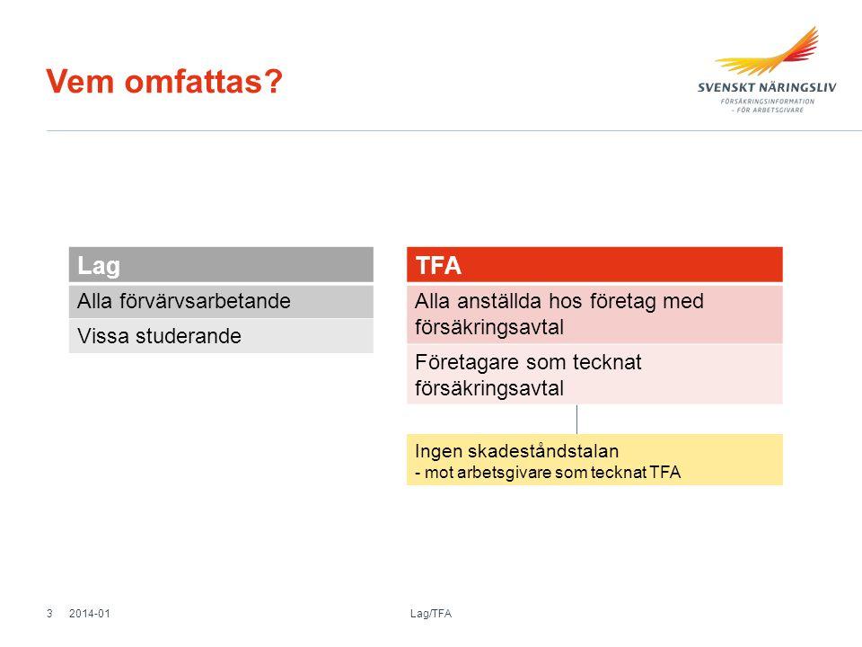 Vem omfattas? Lag Alla förvärvsarbetande Vissa studerande TFA Alla anställda hos företag med försäkringsavtal Företagare som tecknat försäkringsavtal