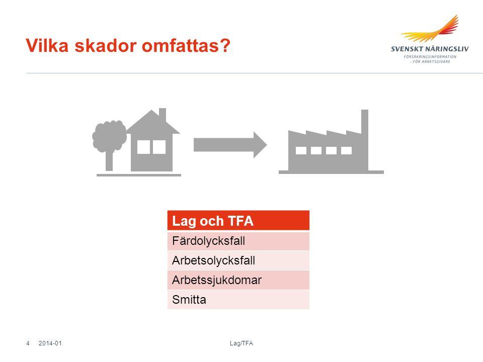 Vilka skador omfattas? Lag och TFA Färdolycksfall Arbetsolycksfall Arbetssjukdomar Smitta 2014-01 Lag/TFA 4