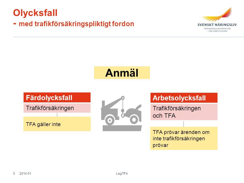 Olycksfall - med trafikförsäkringspliktigt fordon Färdolycksfall Trafikförsäkringen Arbetsolycksfall Trafikförsäkringen och TFA TFA prövar ärenden om