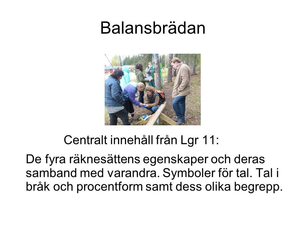 Balansbrädan Centralt innehåll från Lgr 11: De fyra räknesättens egenskaper och deras samband med varandra. Symboler för tal. Tal i bråk och procentfo