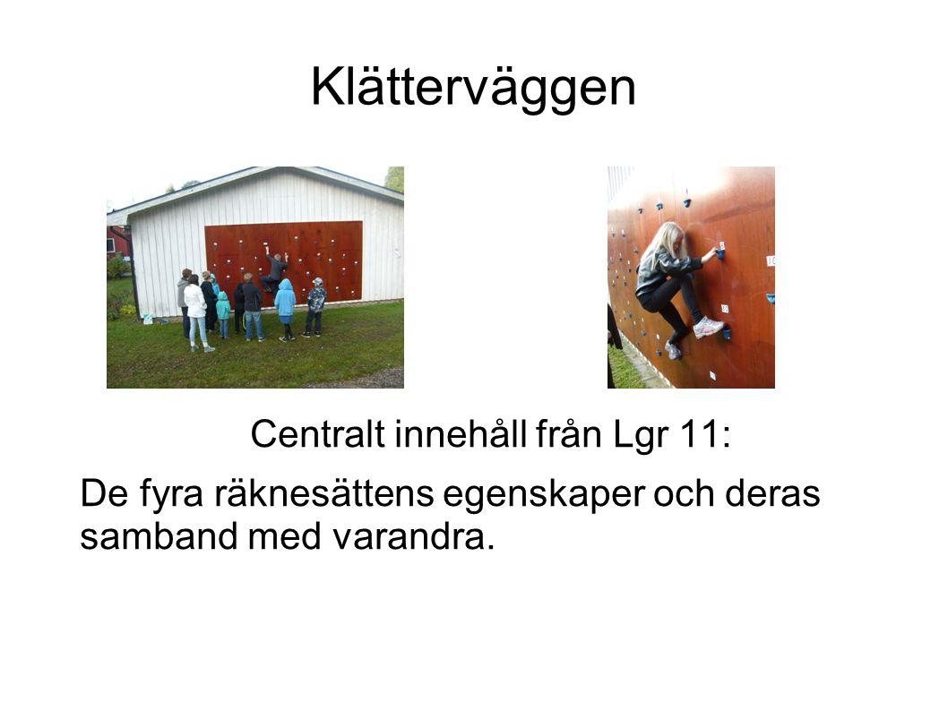 Klätterväggen Centralt innehåll från Lgr 11: De fyra räknesättens egenskaper och deras samband med varandra.