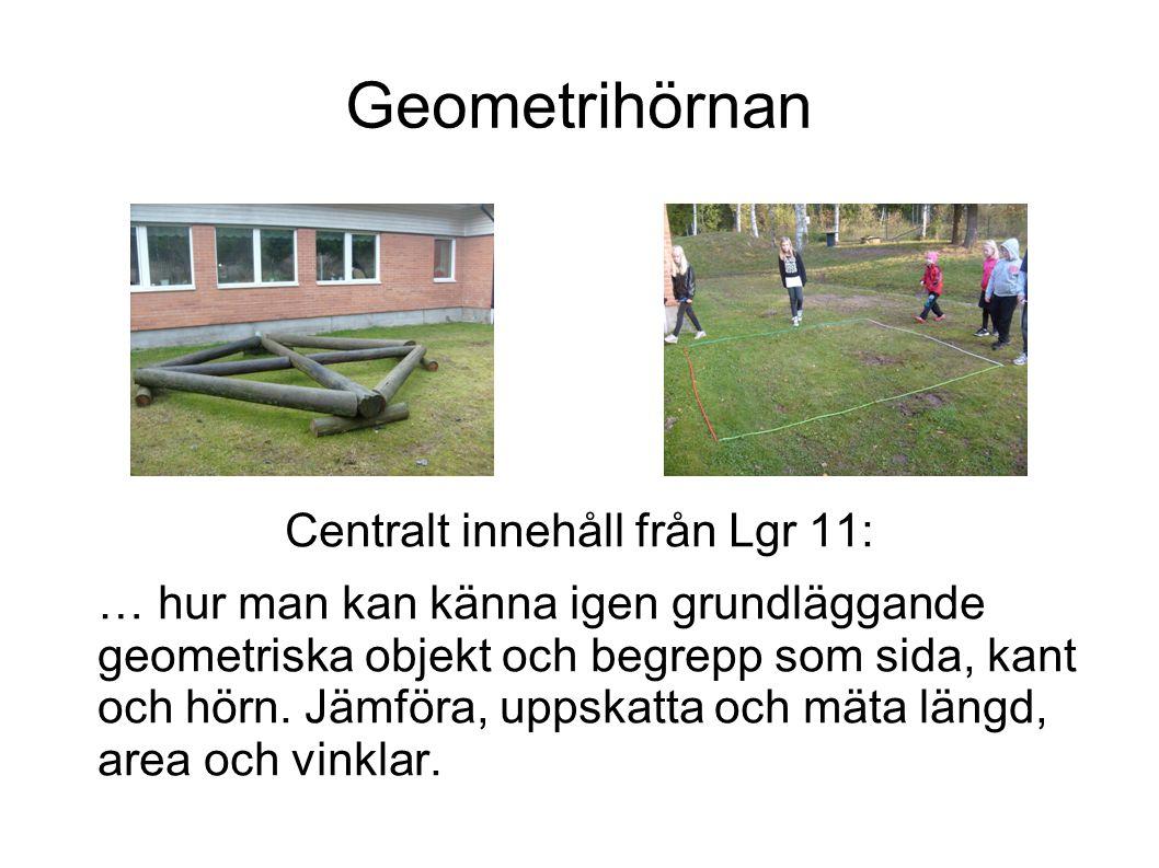 Geometrihörnan Centralt innehåll från Lgr 11: … hur man kan känna igen grundläggande geometriska objekt och begrepp som sida, kant och hörn. Jämföra,