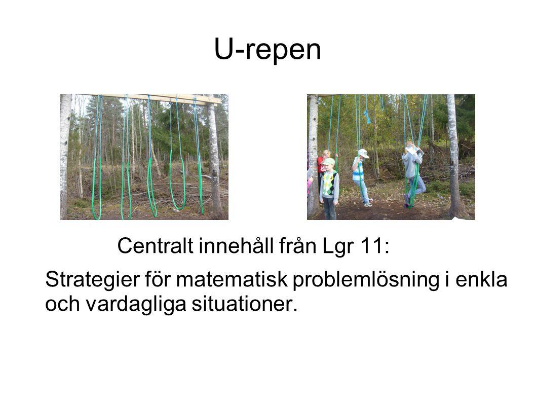 U-repen Centralt innehåll från Lgr 11: Strategier för matematisk problemlösning i enkla och vardagliga situationer.