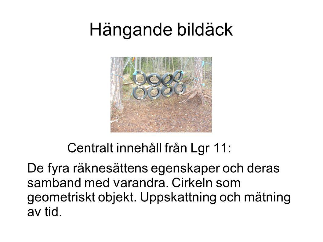 Hängande bildäck Centralt innehåll från Lgr 11: De fyra räknesättens egenskaper och deras samband med varandra. Cirkeln som geometriskt objekt. Uppska