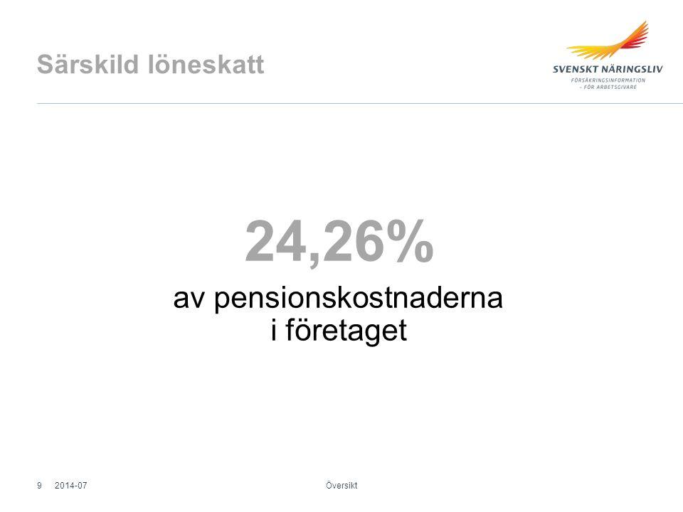 Särskild löneskatt 24,26% av pensionskostnaderna i företaget Översikt 2014-079
