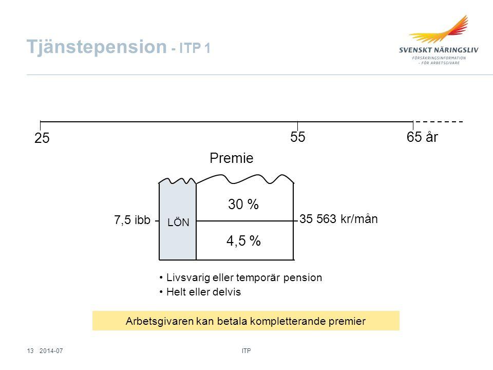 Tjänstepension - ITP 1 25 65 år55 Premie 35 563 kr/mån 7,5 ibb Livsvarig eller temporär pension Helt eller delvis 30 % 4,5 % LÖN Arbetsgivaren kan bet