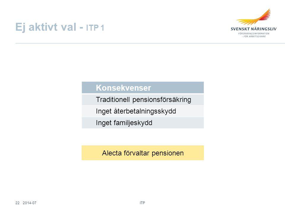 Konsekvenser Traditionell pensionsförsäkring Inget återbetalningsskydd Inget familjeskydd Ej aktivt val - ITP 1 Alecta förvaltar pensionen ITP 222014-
