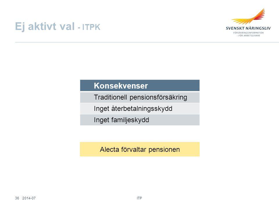 Konsekvenser Traditionell pensionsförsäkring Inget återbetalningsskydd Inget familjeskydd Ej aktivt val - ITPK Alecta förvaltar pensionen ITP 362014-0