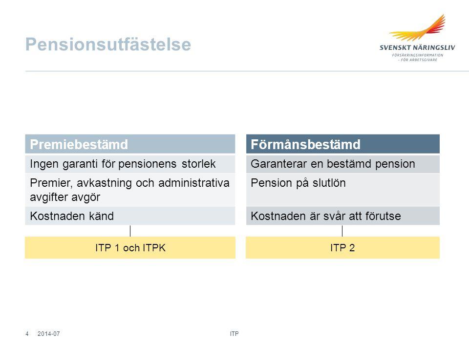 Pensionsutfästelse Förmånsbestämd Garanterar en bestämd pension Pension på slutlön Kostnaden är svår att förutse ITP 1 och ITPK ITP 2 ITP 42014-07 Pre