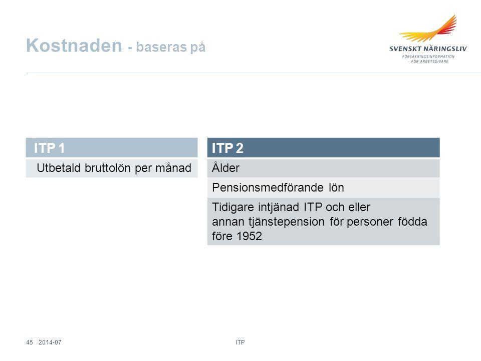 Kostnaden - baseras på ITP 1 Utbetald bruttolön per månad ITP 2 Ålder Pensionsmedförande lön Tidigare intjänad ITP och eller annan tjänstepension för