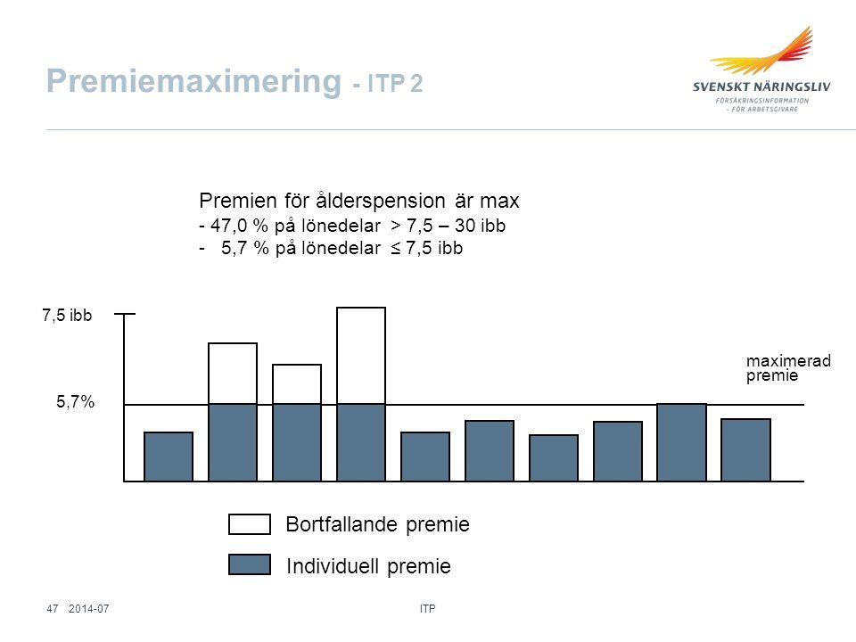 Premiemaximering - ITP 2 Premien för ålderspension är max - 47,0 % på lönedelar > 7,5 – 30 ibb - 5,7 % på lönedelar ≤ 7,5 ibb maximerad premie 7,5 ibb