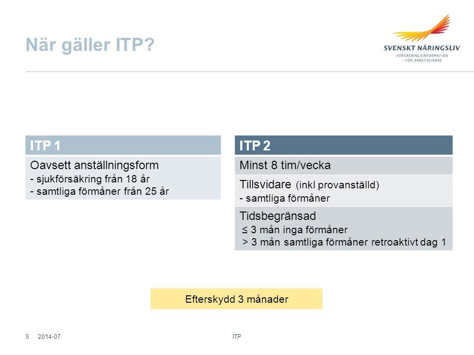När gäller ITP? Efterskydd 3 månader ITP 1 Oavsett anställningsform - sjukförsäkring från 18 år - samtliga förmåner från 25 år ITP 2 Minst 8 tim/vecka