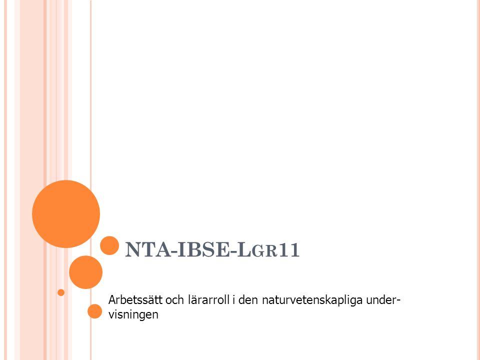NTA-IBSE-L GR 11 Arbetssätt och lärarroll i den naturvetenskapliga under- visningen