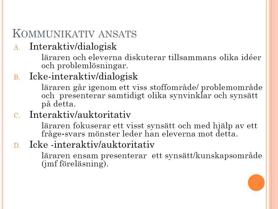 K OMMUNIKATIV ANSATS A.