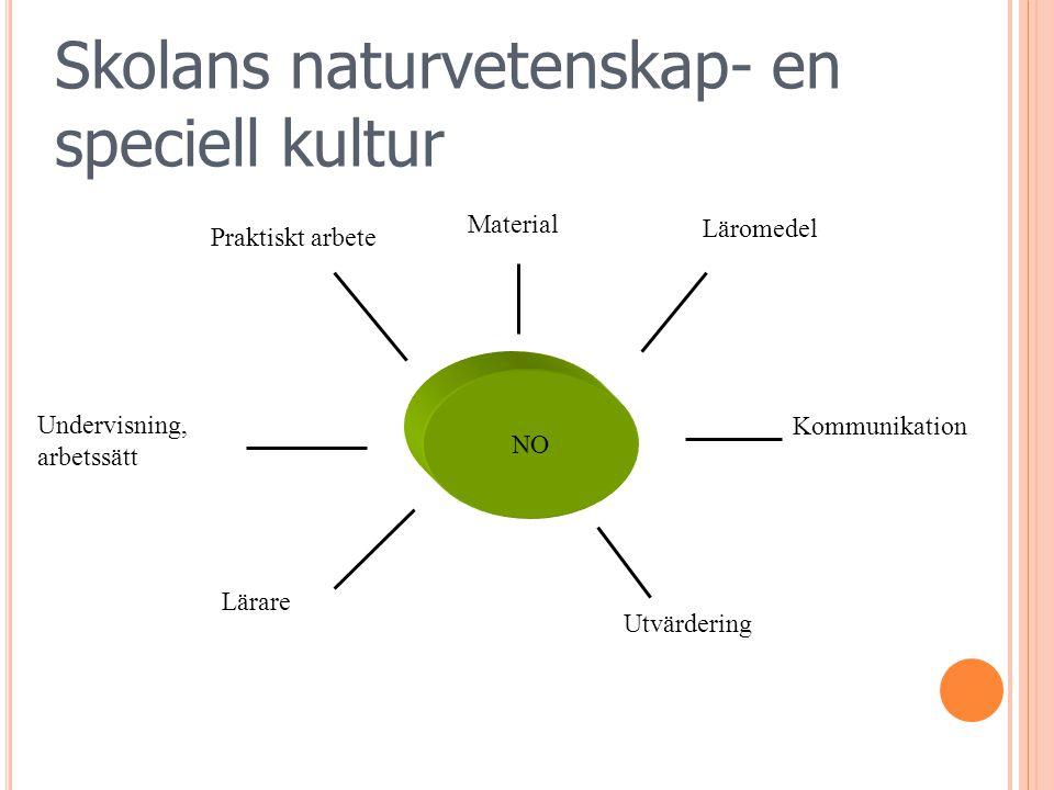 NO Praktiskt arbete Lärare Undervisning, arbetssätt Material Läromedel Kommunikation Skolans naturvetenskap- en speciell kultur Utvärdering