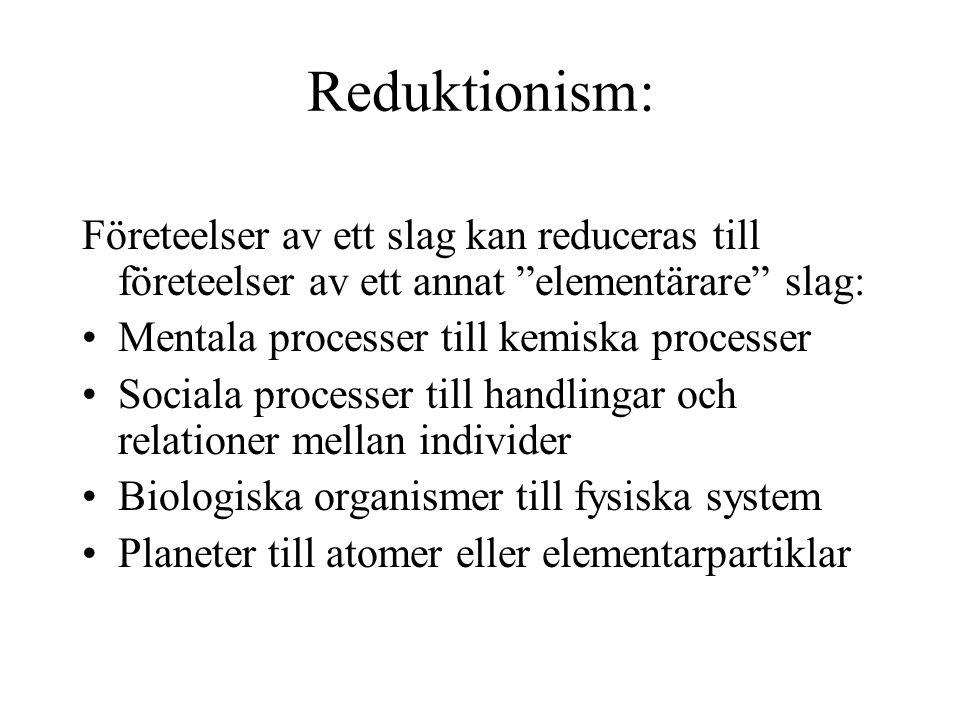 """Reduktionism: Företeelser av ett slag kan reduceras till företeelser av ett annat """"elementärare"""" slag: Mentala processer till kemiska processer Social"""