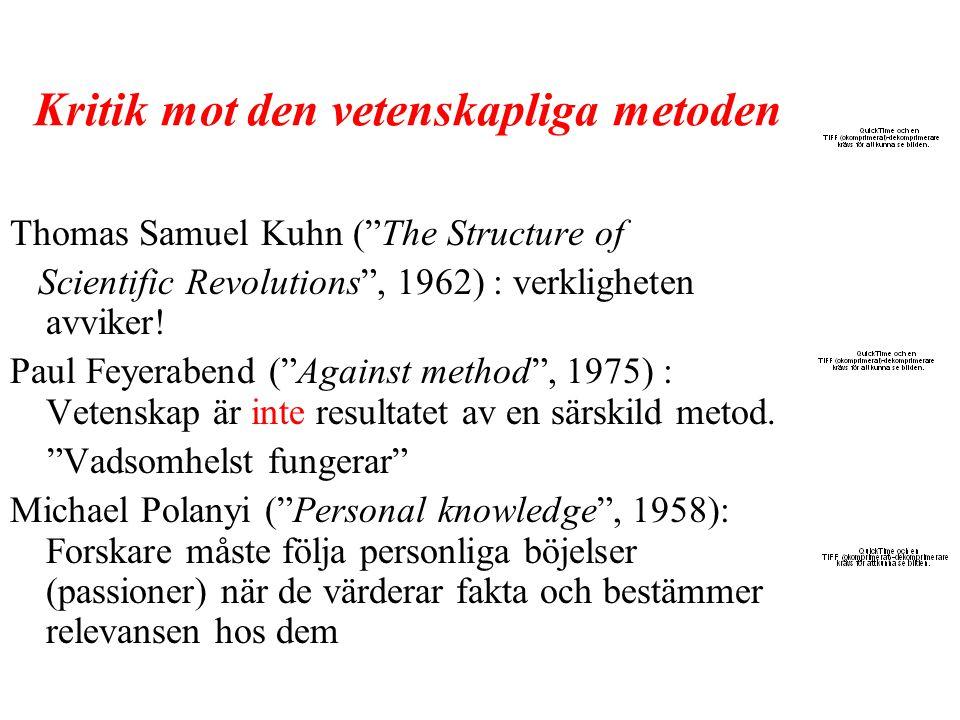 """Kritik mot den vetenskapliga metoden Thomas Samuel Kuhn (""""The Structure of Scientific Revolutions"""", 1962) : verkligheten avviker! Paul Feyerabend (""""Ag"""