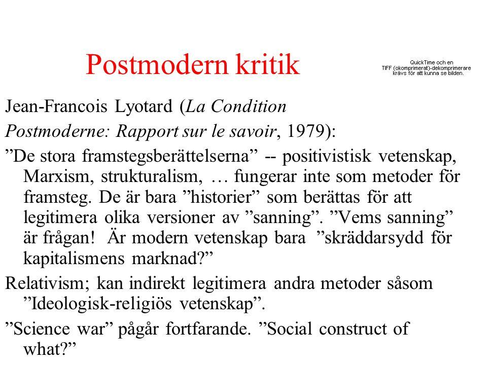 """Postmodern kritik Jean-Francois Lyotard (La Condition Postmoderne: Rapport sur le savoir, 1979): """"De stora framstegsberättelserna"""" -- positivistisk ve"""