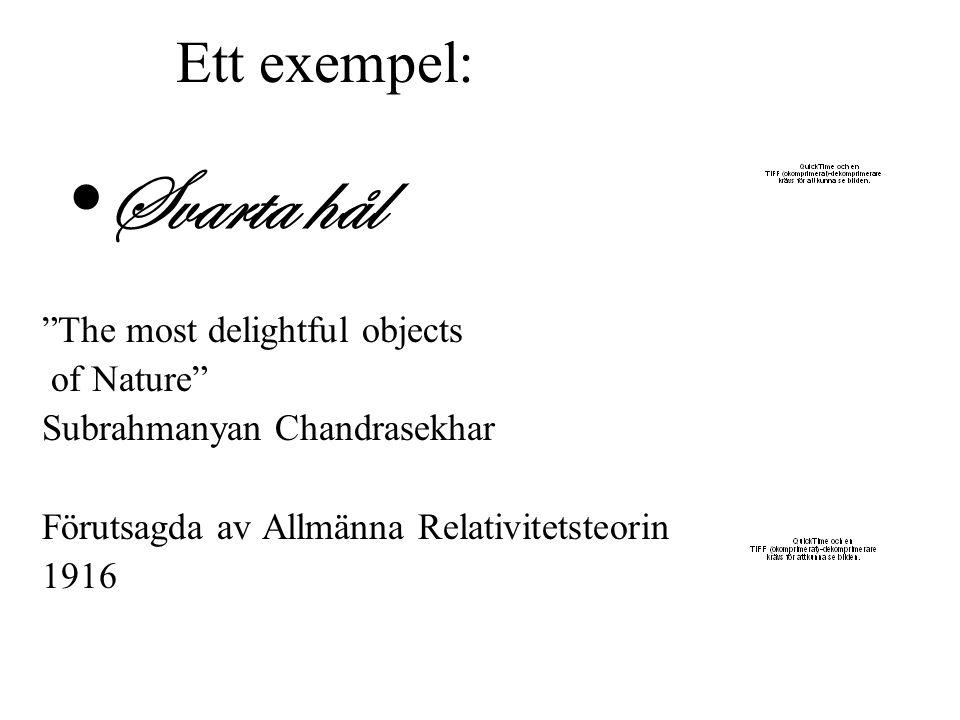 """Ett exempel: Svarta hål """"The most delightful objects of Nature"""" Subrahmanyan Chandrasekhar Förutsagda av Allmänna Relativitetsteorin 1916"""