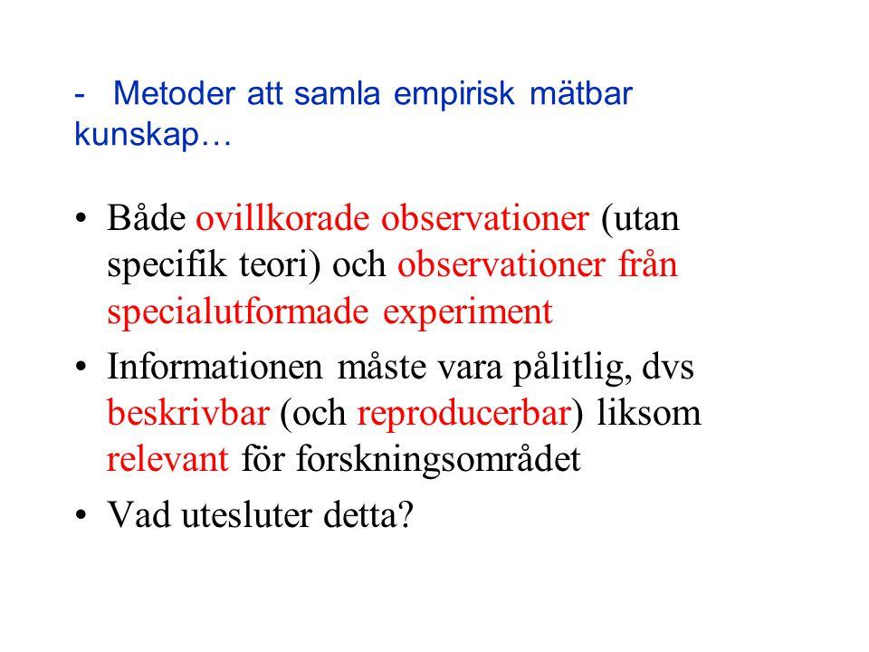 - Metoder att samla empirisk mätbar kunskap… Både ovillkorade observationer (utan specifik teori) och observationer från specialutformade experiment I