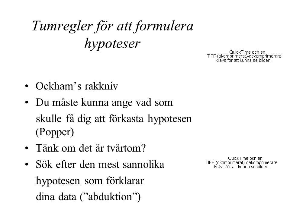 Tumregler för att formulera hypoteser Ockham's rakkniv Du måste kunna ange vad som skulle få dig att förkasta hypotesen (Popper) Tänk om det är tvärto