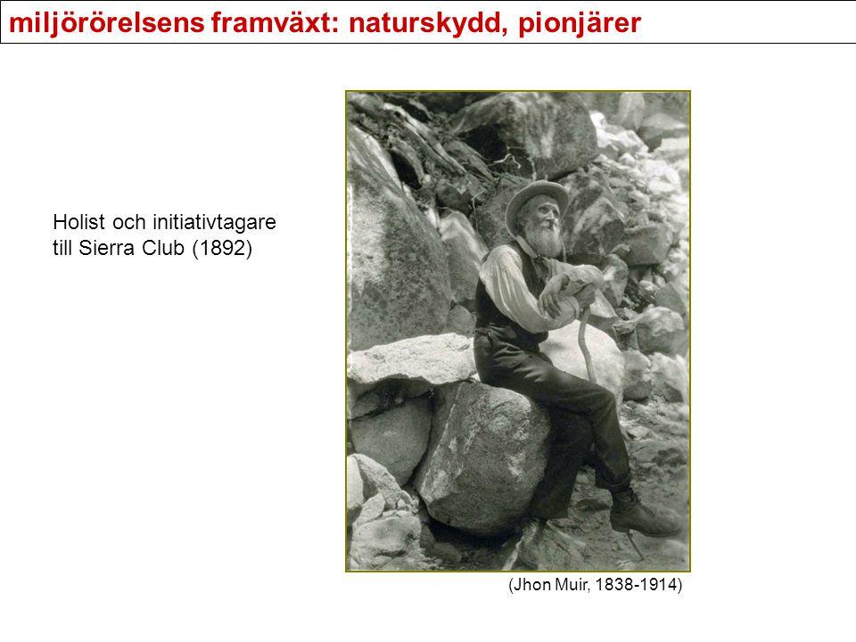 miljörörelsens framväxt: naturskydd, pionjärer Holist och initiativtagare till Sierra Club (1892) (Jhon Muir, 1838-1914)