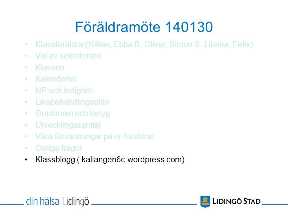 Föräldramöte 140130 Klassföräldrar(Niklas, Ebba B, Oliver, Simon S, Linnéa, Felix) Val av sekreterare Klassen Kalendariet NP och ledighet Likabehandli