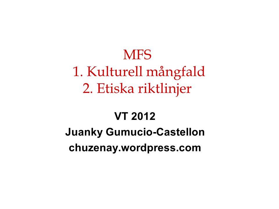 VT 2012 Juanky Gumucio-Castellon chuzenay.wordpress.com MFS 1. Kulturell mångfald 2. Etiska riktlinjer