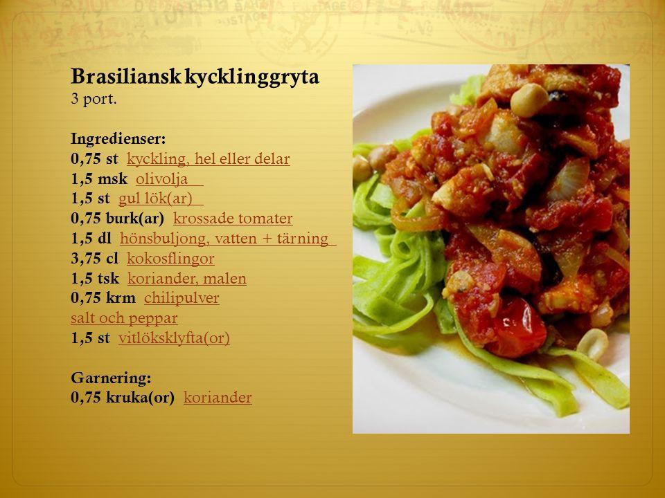 Brasiliansk kycklinggryta 3 port. Ingredienser: 0,75 st kyckling, hel eller delarkyckling, hel eller delar 1,5 msk olivoljaolivolja 1,5 st gul lök(ar)