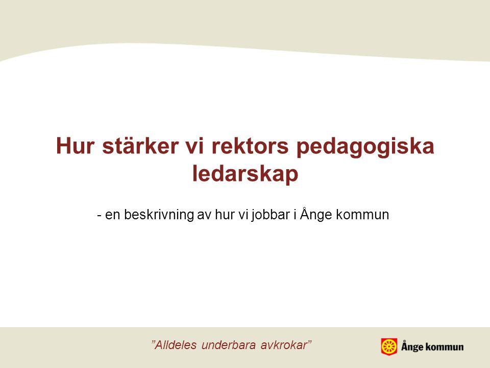 Hur stärker vi rektors pedagogiska ledarskap - en beskrivning av hur vi jobbar i Ånge kommun Alldeles underbara avkrokar