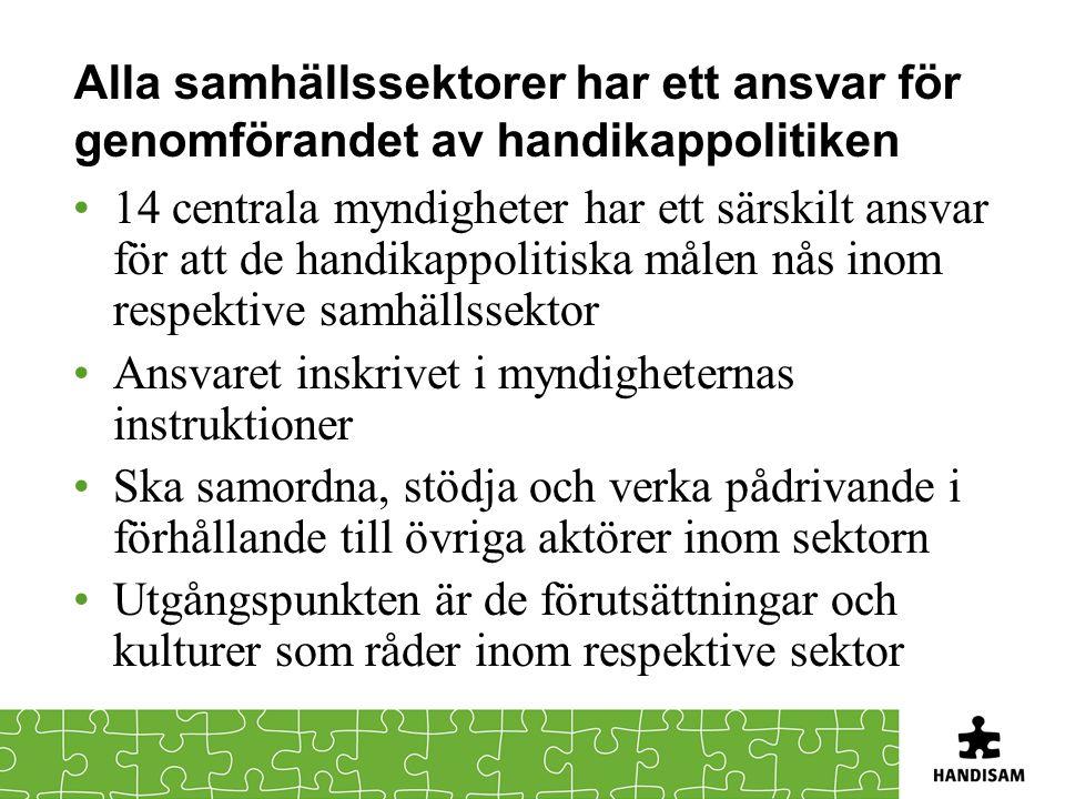 Alla samhällssektorer har ett ansvar för genomförandet av handikappolitiken 14 centrala myndigheter har ett särskilt ansvar för att de handikappolitis