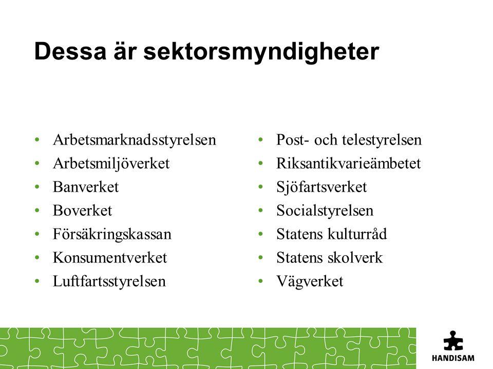 Dessa är sektorsmyndigheter Arbetsmarknadsstyrelsen Arbetsmiljöverket Banverket Boverket Försäkringskassan Konsumentverket Luftfartsstyrelsen Post- oc