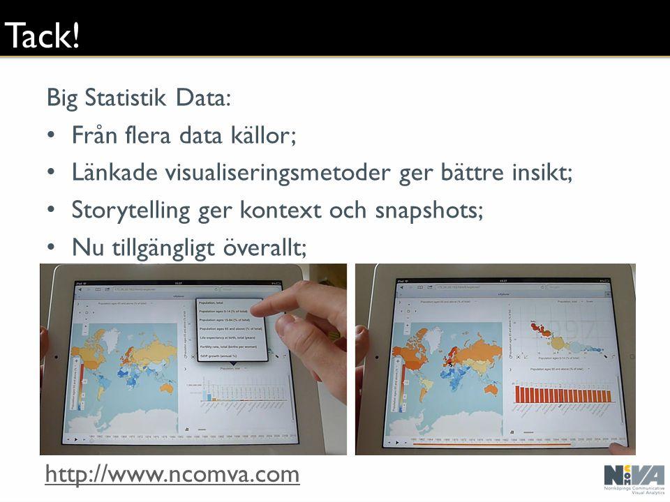 Tack! Big Statistik Data: Från flera data källor; Länkade visualiseringsmetoder ger bättre insikt; Storytelling ger kontext och snapshots; Nu tillgäng