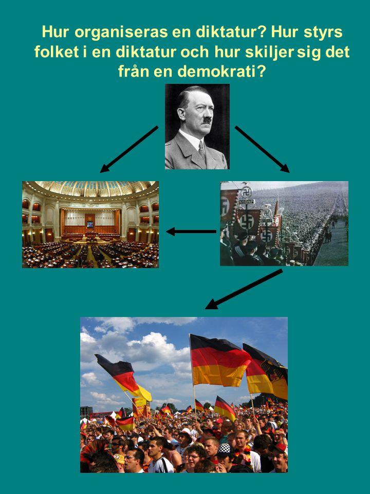Hur organiseras en diktatur? Hur styrs folket i en diktatur och hur skiljer sig det från en demokrati?