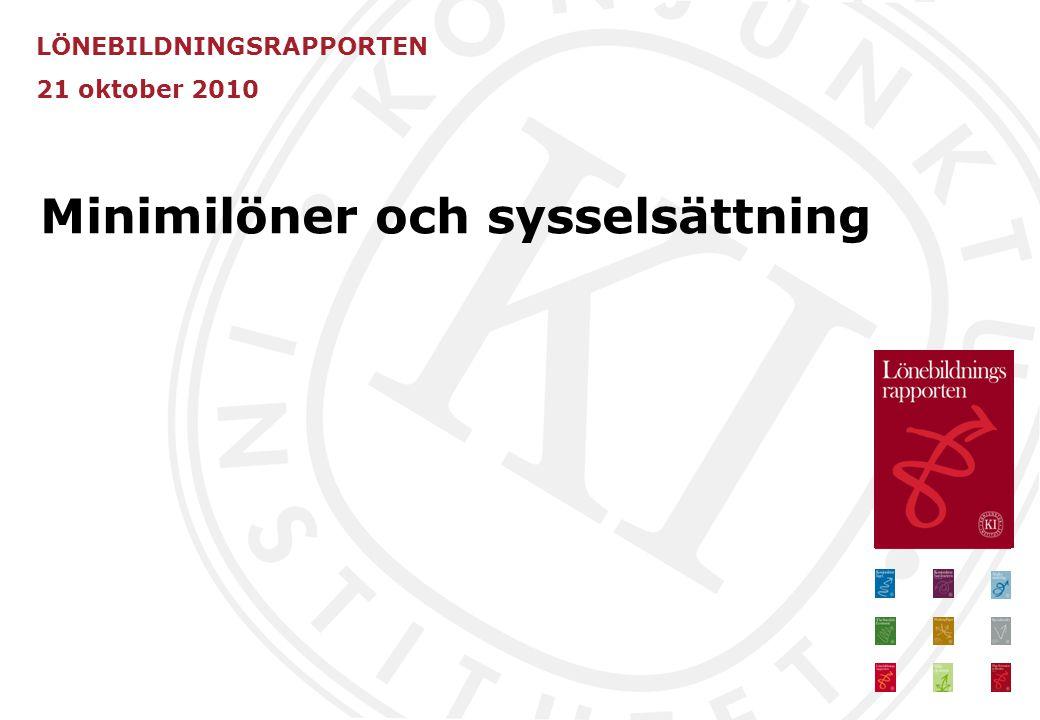 LÖNEBILDNINGSRAPPORTEN 21 oktober 2010 Minimilöner och sysselsättning