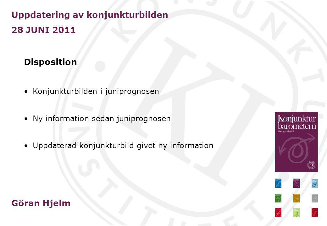 Uppdatering av konjunkturbilden 28 JUNI 2011 Göran Hjelm Disposition Konjunkturbilden i juniprognosen Ny information sedan juniprognosen Uppdaterad konjunkturbild givet ny information