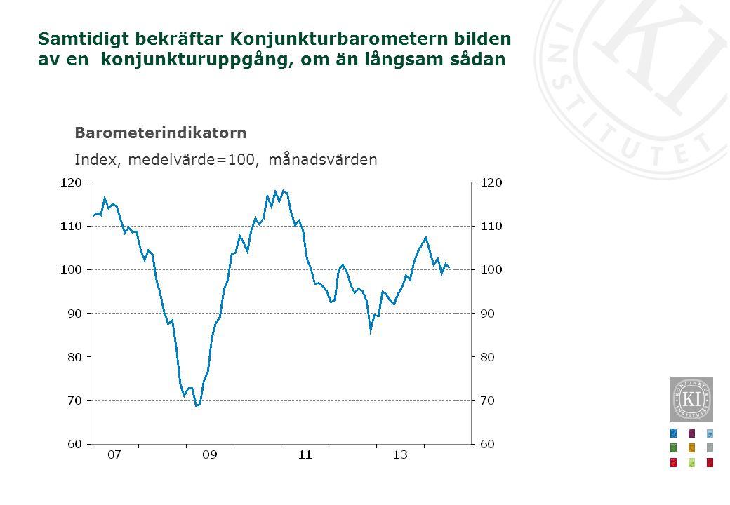 Barometerindikatorn Index, medelvärde=100, månadsvärden Samtidigt bekräftar Konjunkturbarometern bilden av en konjunkturuppgång, om än långsam sådan
