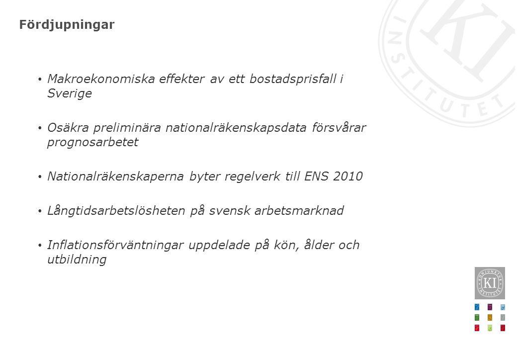 Fördjupningar Makroekonomiska effekter av ett bostadsprisfall i Sverige Osäkra preliminära nationalräkenskapsdata försvårar prognosarbetet Nationalräkenskaperna byter regelverk till ENS 2010 Långtidsarbetslösheten på svensk arbetsmarknad Inflationsförväntningar uppdelade på kön, ålder och utbildning
