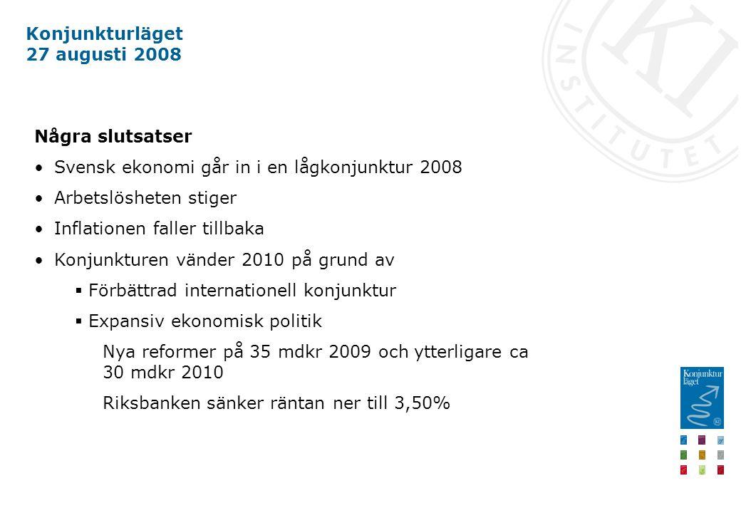 Konjunkturläget 27 augusti 2008 Några slutsatser Svensk ekonomi går in i en lågkonjunktur 2008 Arbetslösheten stiger Inflationen faller tillbaka Konjunkturen vänder 2010 på grund av  Förbättrad internationell konjunktur  Expansiv ekonomisk politik Nya reformer på 35 mdkr 2009 och ytterligare ca 30 mdkr 2010 Riksbanken sänker räntan ner till 3,50%