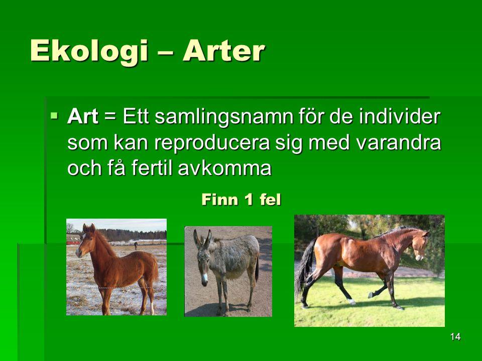 14 Ekologi – Arter  Art = Ett samlingsnamn för de individer som kan reproducera sig med varandra och få fertil avkomma Finn 1 fel